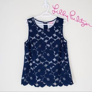 LILLY PULITZER BLUE FLORAL LACE TANK TOP XL